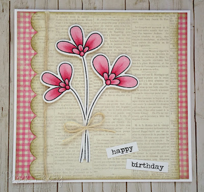 Pink flowers in vintage style, using MFT Build-able bouquet stamps and dies