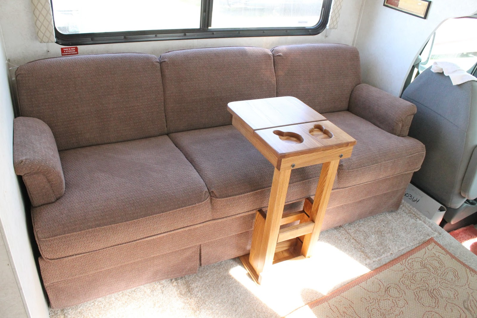 Small Table That Slides Under Sofa Black Fabric Chair Countryside Interiors Transforming Rvs And Trailers