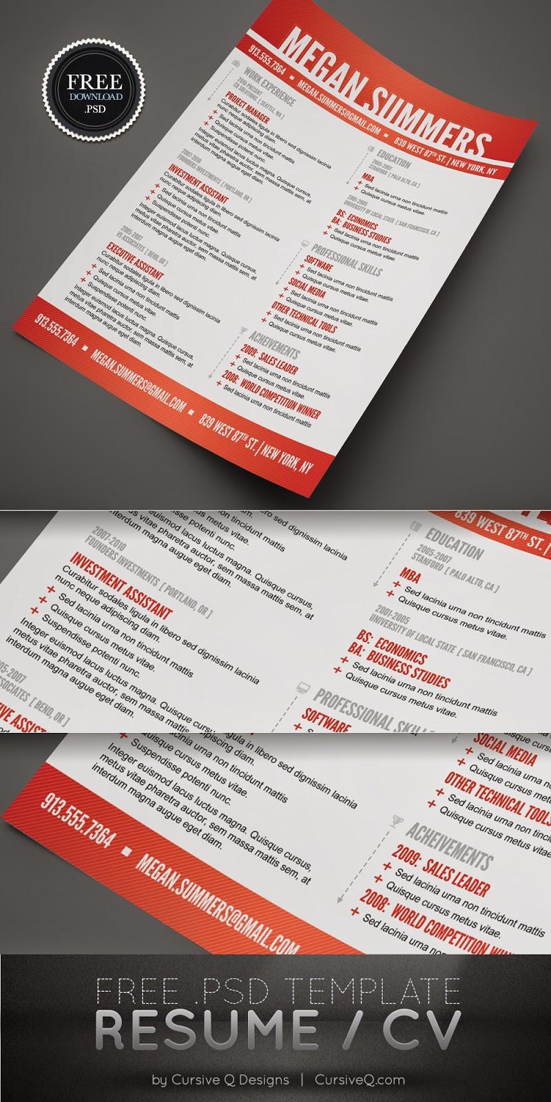 Modern Resume / CV PSD Template