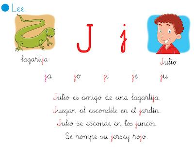 Resultado de imagen de lectura letra j