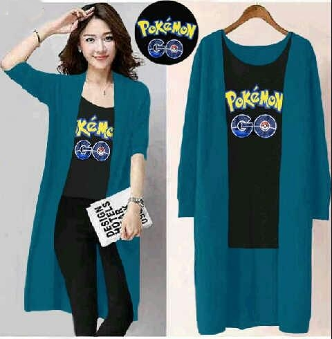Jual Tunik Set 2 In 1 Pokemon Cardigan - 12724