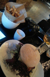 Burger, chips and a beer