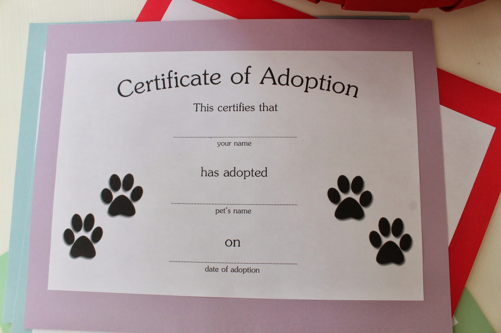 Keeping up with the kiddos puppy dog kitty cat birthday for Adoption certificate template