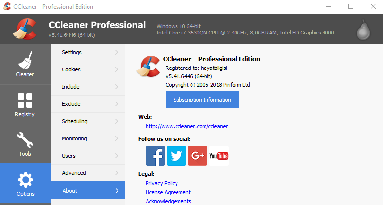 Ccleaner Professional 5.46 working 2018 License Key ...