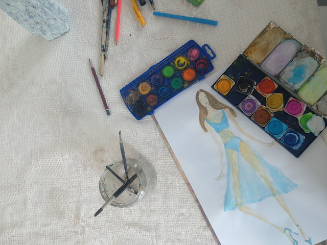 Making of a Fashion Illustration: A Girl Holding Two Pineapples, Wearing a Transparent Blue Dress