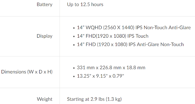 Lenovo ThinkPad T470s battery life, display dimensions and weight specs