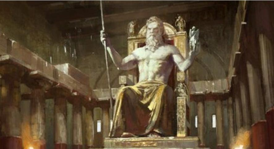 Patung Zeus setinggi 14 meter yang terbuat dari emas