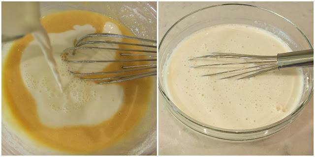 mezclar huevos, azucar, harina y leche