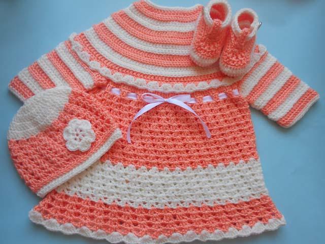 Crochet Crosia Free Patttern With Video Tutorials Baby Dress Hat
