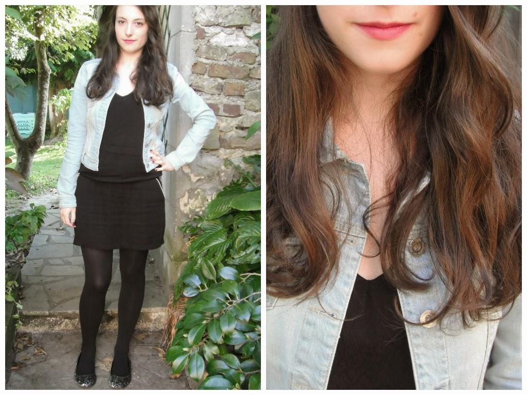 Lookbook automne 2014 tenue 3 : robe noire et veste en jeans