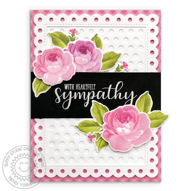 Sunny Studio Stamps: Everything's Rosy Rose Sympathy Card (Using Everyday Greetings Stamps & Frilly Frames Polka-Dot Dies)