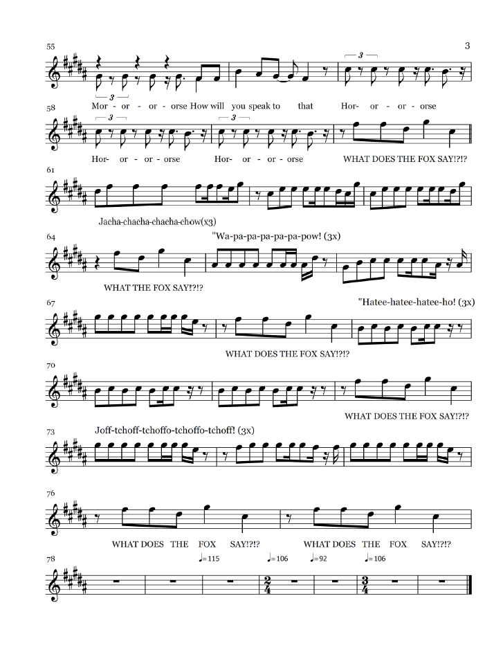All Music Chords sheet music for say something : Free Pop Sheet Music: The Fox (What Does the Fox Say) - Ylvis (Flute)
