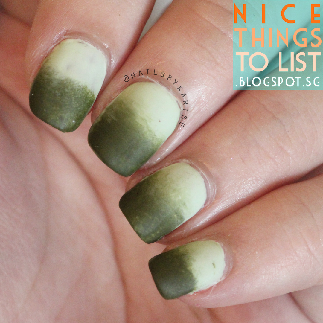 Light to Dark Green Ombre Gradient Nail Art - Nice Things To List