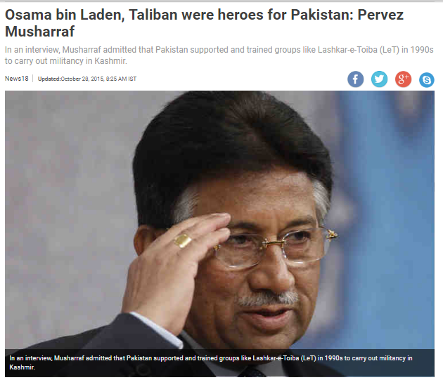 Pervez Musharraf acknowledges Taliban as Heroes