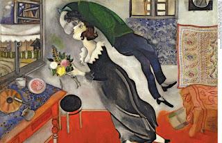 Pintura surrealista de Marc Chagall, denominada The Birthday, Óleo sobre Cartão, exposta no MoMA em Nova York.  Ao centro, em uma sala íntima,um casal, homem e mulher flutuam livres. A mulher usa um vestido preto quase soltando as pontas dos pés do chão avermelhado, inclina o corpo ereto à esquerda em direção à janela como se estivesse correndo pronta para alçar voo. Ela segura um colorido buquê de flores e levanta a cabeça a espera do beijo do homem, que flutua de costas acima dela, em posição contorcionista. Ele estica, torce o pescoço e vira a cabeça amorosamente aproximando os lábios aos dela.   O mobiliário do ambiente é simples: uma mesa com toalha azul florida encontra-se próxima à janela, à frente do casal apaixonado, junto à uma banqueta com forro preto. Sobre a mesa uma pequena bolsa uma faca sobre um bolo, um prato e um copo. Na extrema lateral direita, parte de um delicado divã, acima, dois tapetes coloridos e bem trabalhados enfeitam a parede. Um pouco mais acima uma pequena janela. Através dos vidros das janelas, vislumbra-se a rua tranquila e as casas na vizinhança.   Curiosidade: A mulher na pintura é a primeira esposa de Chagall, Bella Rosenfeld, e o homem retratado é Mark Chagall. A todos amigos do Íris Cor de Mel ,um Feliz Dia dos Namorados!