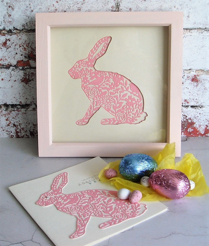 I Picked Pearlised Pink And Cream Card To Make Up My Die Cut Picture Match The Pretty Light Frames Rabbit Was Out From Center