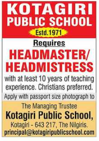 Kotagiri Public School Wanted Headmaster/Headmistress