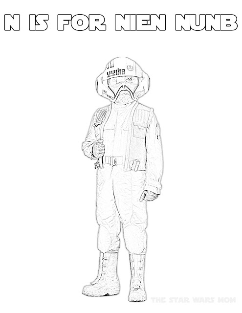 N is for Nien Nunb Star Wars Coloring Page Alphabet