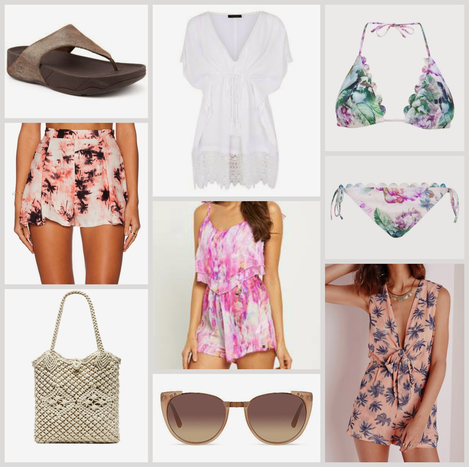 beach holiday style wishlist swimwear kaftan sunglasses fitflops playsuit