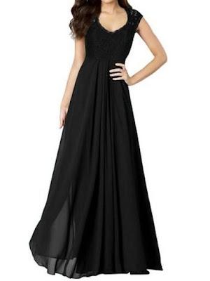Miusol Women's Casual Deep- V Neck Sleeveless Vintage Maxi Black Dress