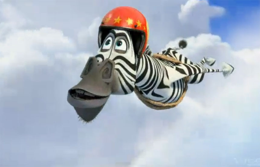 Marty flying through the air in Madagascar 3: Europe's Most Wanted Madagascar 3: Europe's Most Wanted //animatedfilmreviews.filminspector.com/2012/12/madagascar-3-europes-most-wanted-2012.html