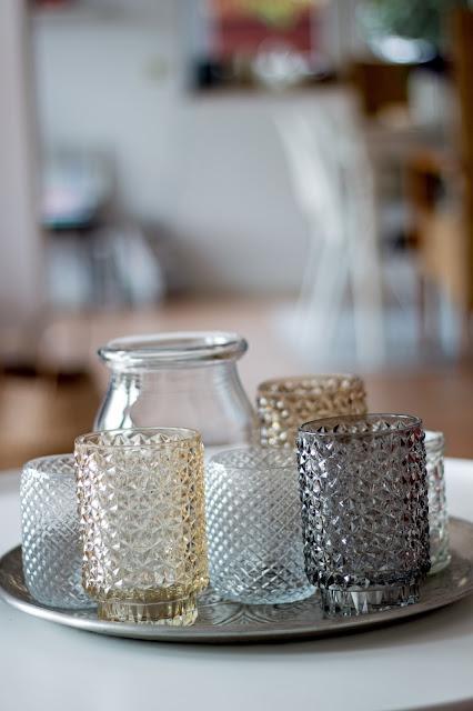 Glaswindlichter mit Facettenschliff, Teelichter, Herbstdekoration, herbstlich dekorieren
