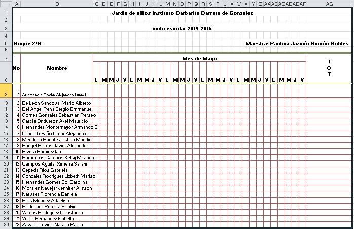 evidencias2015 Lista de asistencia