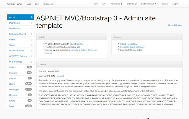 template admin responsive MVC Bootstrap 3.x