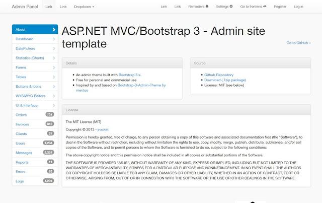 template admin responsive MVC Bootstrap 3.x
