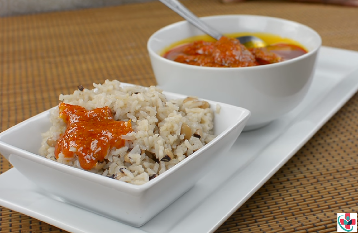 Rice and Beans Served with Stew