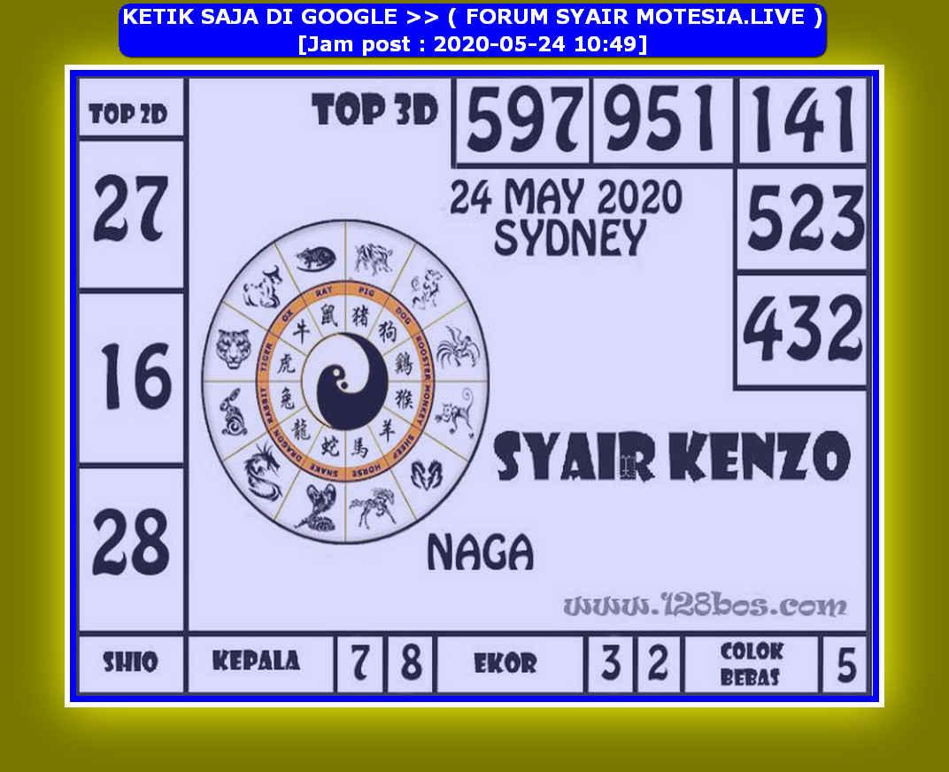 Kode syair Sydney Minggu 24 Mei 2020 126