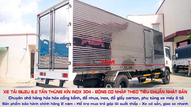 Xe fn129 8.2 tấn thùng kín inox 430