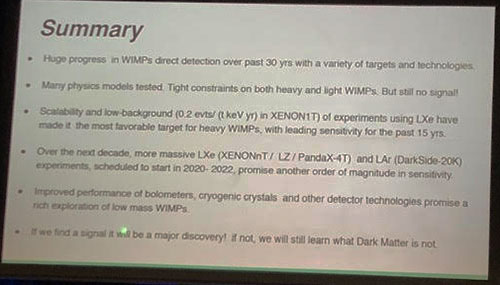 Status of WIMP Search presentation summary slide  (Source: Elena Aprile presentation at APS Meeting in Denver)