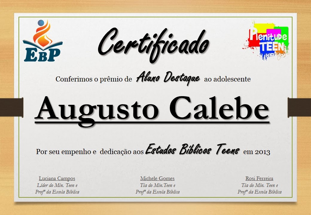 Plenitude Teen Modelos de Certificados - modelos de certificados