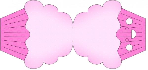 Tarjeta con forma de cupcake de Corazones Rosa.