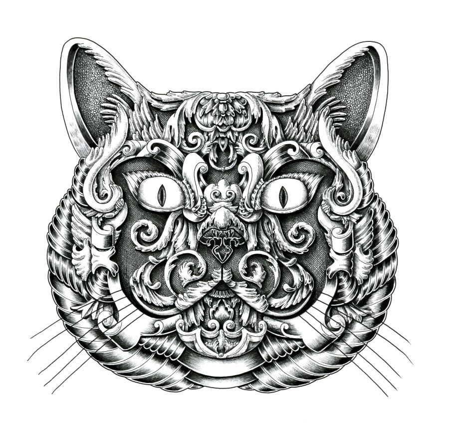 03-British Shorthair-Alex-Konahin-Ornate-Details-in-Animal-Drawings-www-designstack-co