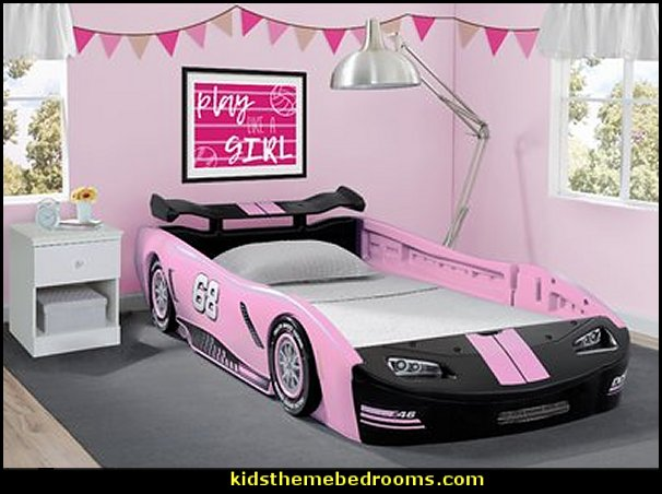 Pink Car bed for the gals  car beds - car racing theme bedrooms - theme beds - car beds - race car beds - cars - transportation theme - construction theme - boys bedroom ideas - garage themed bedrooms - boys racing cars themed bedrooms - Car Themed Bedrooms for Teenagers - car beds for kids - Checkered Flags Wall Decals