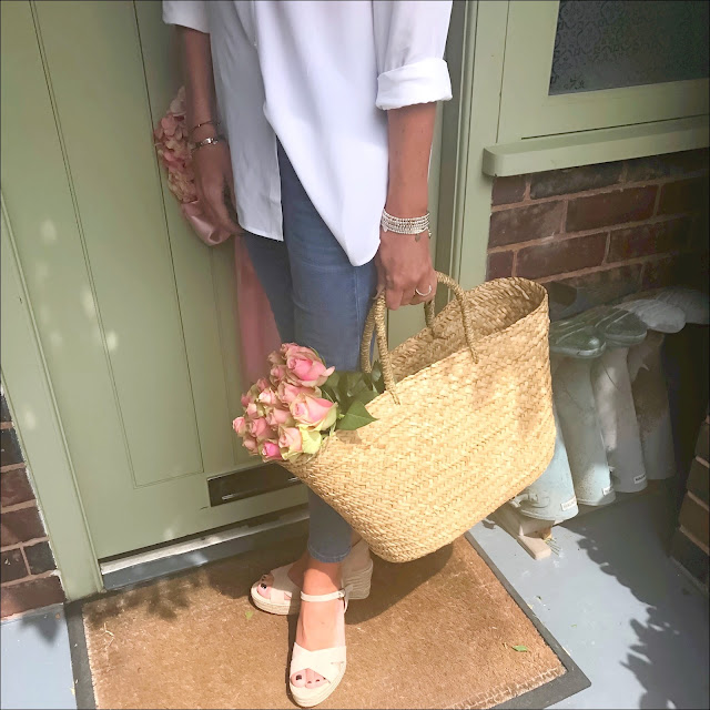 My Midlife Fashion, The white company cross front espadrille wedges, the white company silk shirt, the white company straw basket bag, j crew toothpick skinny cropped jeans, mark and spencer hand woven panama hat