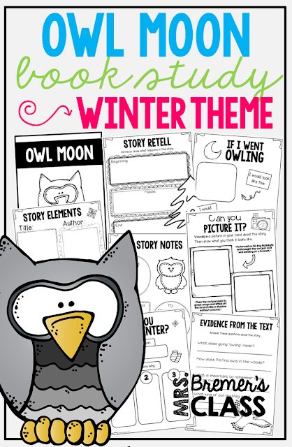 Owl Moon book study companion activities. Perfect for a winter theme in the classroom! Packed with fun ideas and guided reading literacy activities. Common Core aligned. Grades 1-2. #owlmoon #winter #bookstudy #bookstudies #literacy #guidedreading #1stgrade #2ndgrade #bookcompanion #bookcompanions #1stgradereading #2ndgradereading #winterbooks #picturebookactivities