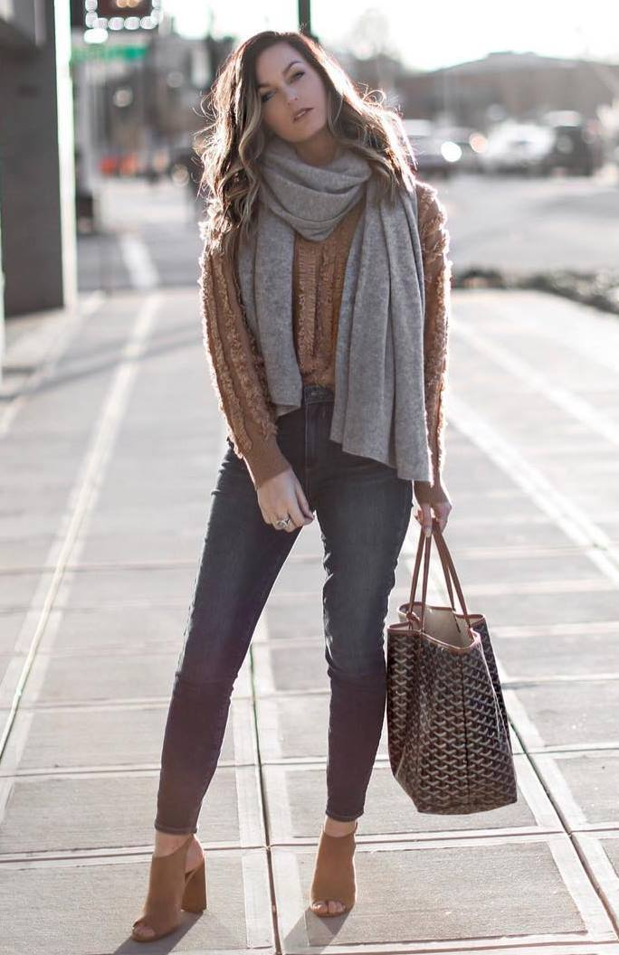what to wear this fall : grey scarf + brown sweater + bag + skinnies + heels