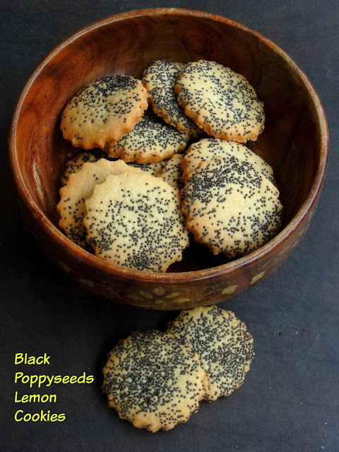 Eggless Black poppyseeds Lemon Cookies, Black poppyseeds sugar cookies
