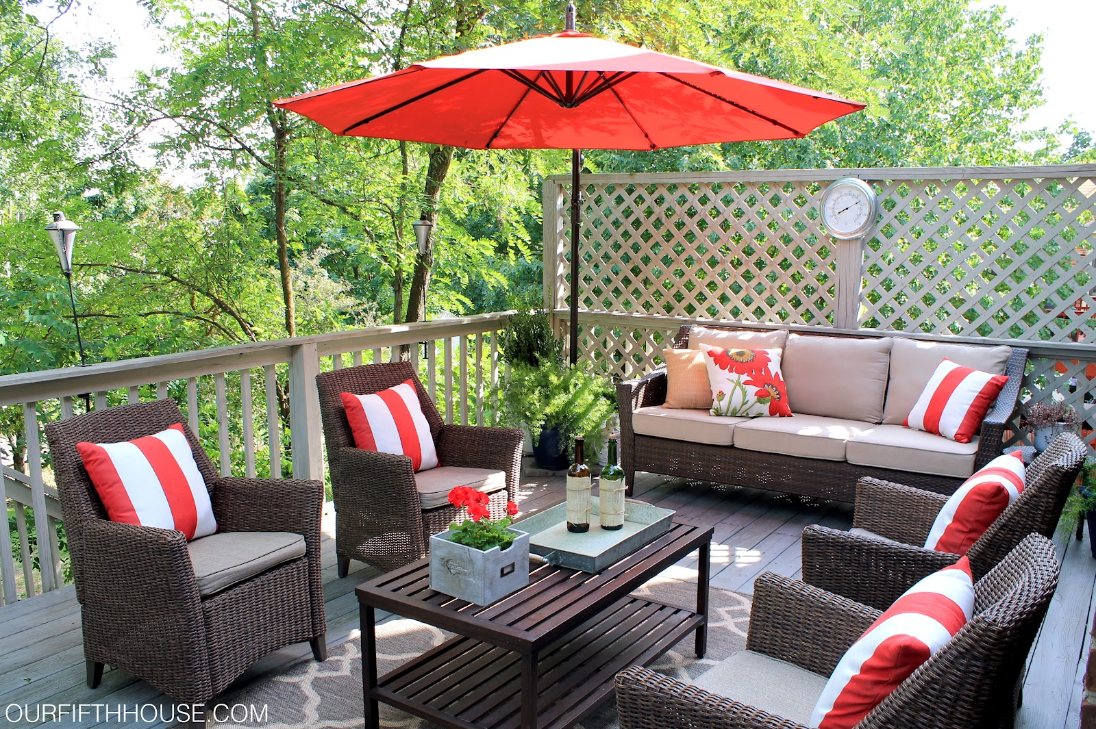 Outdoor living deck updates our fifth house for Patio decorating photos