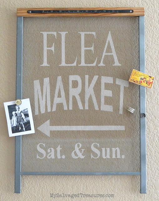 Flea Market custom stenciled vintage window screen