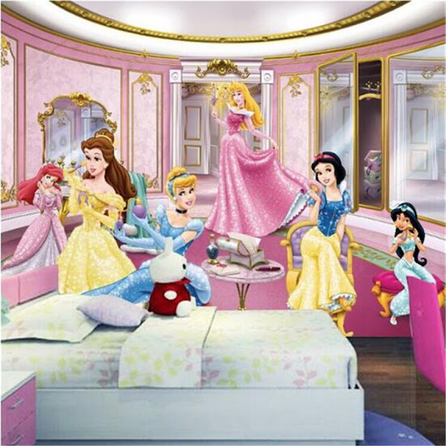 Disney princess wall mural kids room girl mural 3d photo wallpaper cartoon princesses photo pink