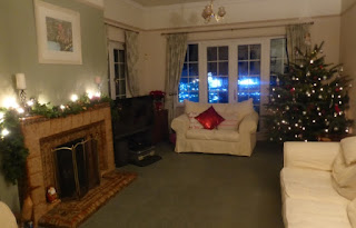 room decorated for Christmas