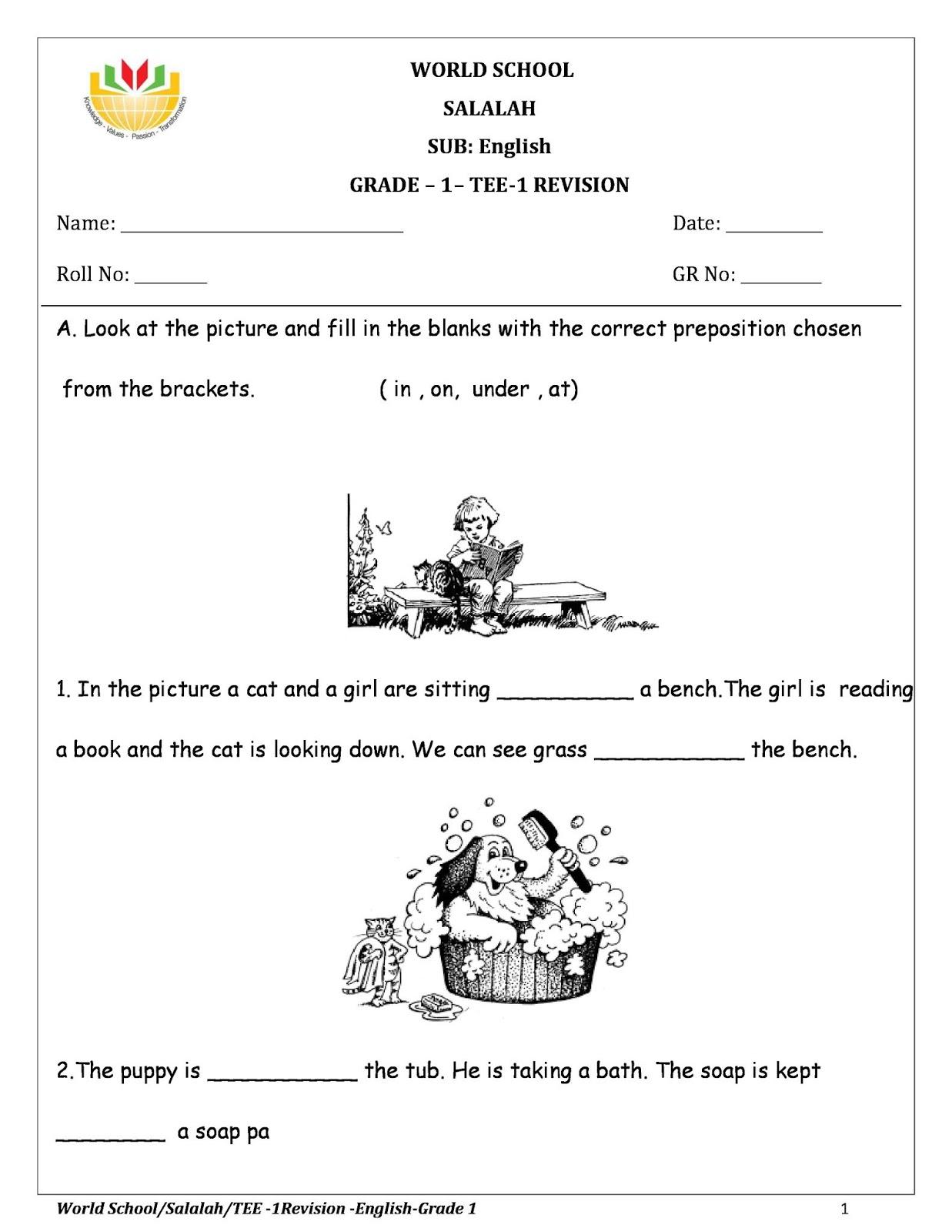 Birla World School Oman Homework For Grade 1 As On 23 12