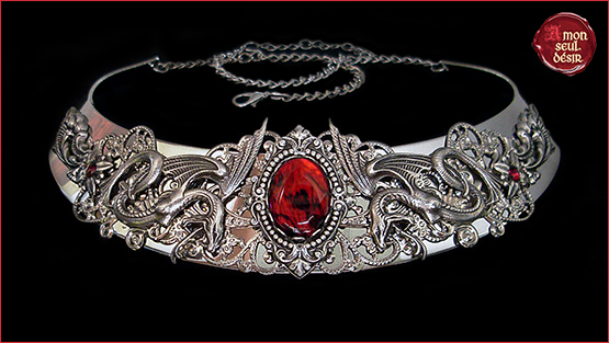 collier serpent mythical snake necklace medieval fantasy torc torque medusa gorgona