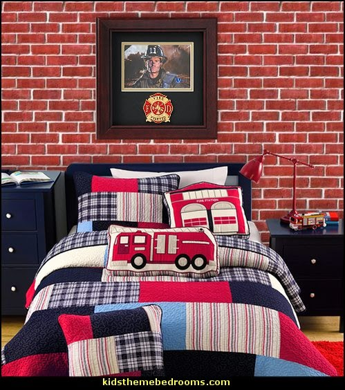 Thomas Firetruck Patchwork Quilt Set fire truck bedroom decor - Firefighter bedding - fireman bedding - fire truck bedroom decorating ideas - flames bedding - Fire Engine Beds - Fire truck bedrooms - dalmatian theme bedrooms