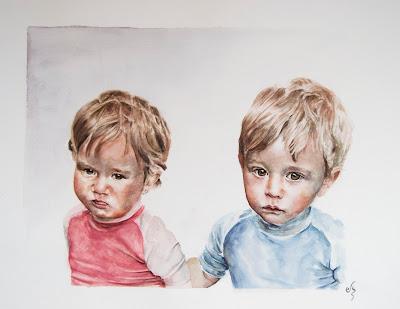 Retrato en acuarela de dos niños