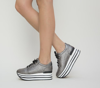 pantofi sport dama la moda gri cu talpa groasa